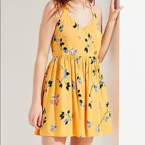 Urban Outfitters Yellow Pippa Halter Mini Dress